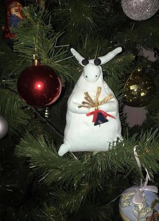 Символ года мягкая игрушка бык с колокольчиком