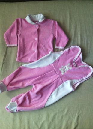 Комплект для малышки велюр с вышивкой