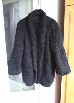 Роскошный мохеровый кардиган пальто оверсайз 100% мохер на подкладке