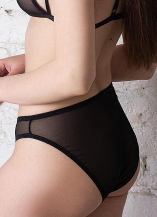 Черные прозрачные женские трусики слип