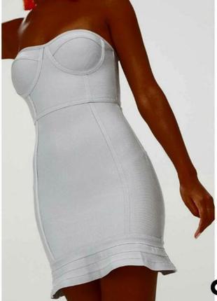 Серебристое бандажное платье бюстье