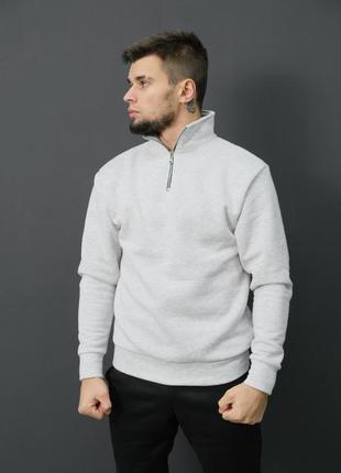 Утеплённый светло-серый  свитшот с замком dnk mafia