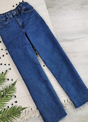 Прямые темно-синие джинсы с необработанным краем  h&m  размер eur40 (m)