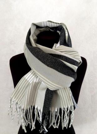 Шерстяной шарф из шерсти кролика клетка полоска салатовый10 фото