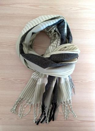 Шерстяной шарф из шерсти кролика клетка полоска салатовый2 фото