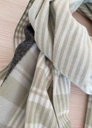 Шерстяной шарф из шерсти кролика клетка полоска салатовый4 фото