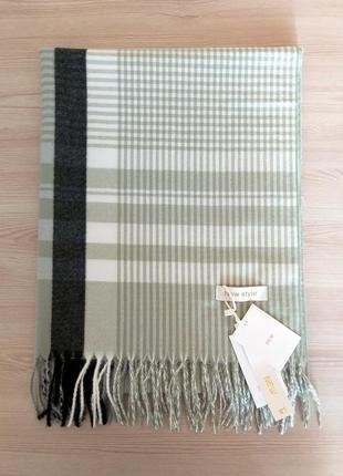 Шерстяной шарф из шерсти кролика клетка полоска салатовый8 фото