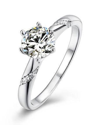 Серебряное кольцо с муассанитом   сертфикат