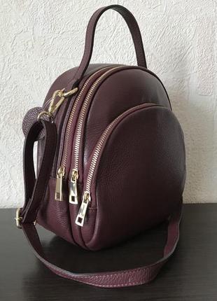 Сумка-рюказк 29450-2 /италия/ натуральная кожа марсала