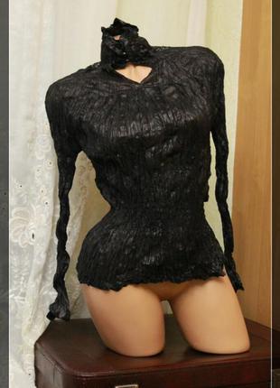 Блуза жатка с вышивкой пайетками на спинке,р.m-l