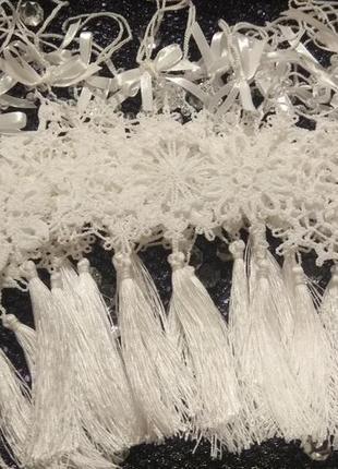 Новогодний сувенир: набор снежинок связан крючком. украшение на ёлку.