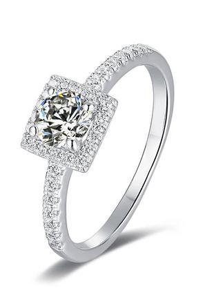 Серебряное кольцо с муассанитом  сертификат