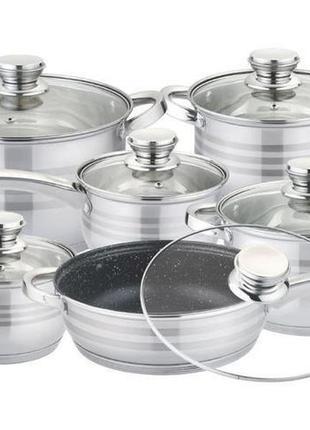 Набор посуды rainberg из нержавеющей стали 12 предметов