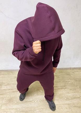 Теплый спортивный костюм на флисе бордового цвета oversize