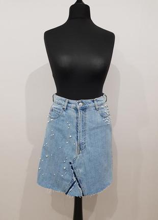 Стильная джинсовая юбка zara