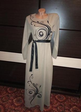 Платье с пояском в пол