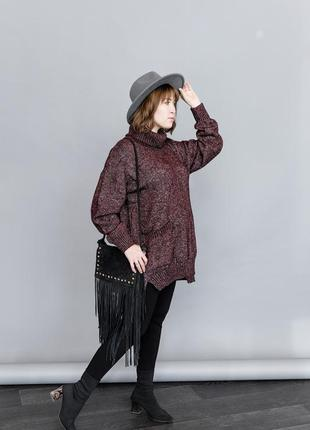 Туника вязаная кофта свитер с горлом оверсайз