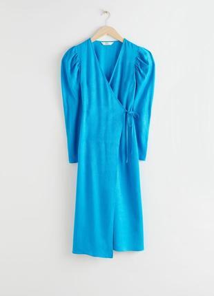 Платье миди голубое синее с объёмными рукавами на запах блестящее other stories zara