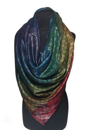 Большой огромный платок gucci радужный черный разноцветный шелк люрекс