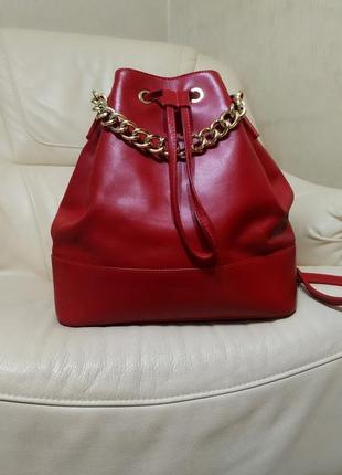 Фирменный сумка - рюкзак kaos. италия. кожа