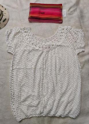 Ажурная кружевная футболка s 44