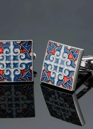 Запонки винтажные с эмалью, геометрия, эмалированные, з емаллю