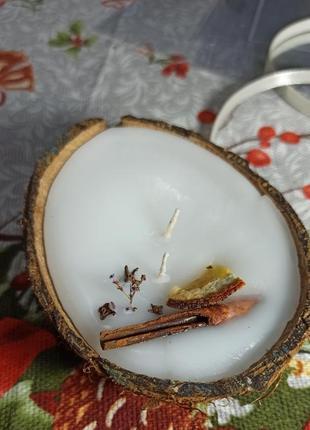 Свеча в кокосе,свечи ручной работы,аромасвеча, рождественский набор
