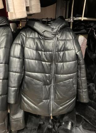 Кожаный пуховик, кожаная куртка зима, кожаная женская куртка