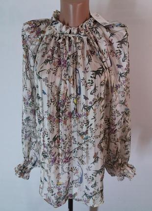 Красивейшая элегантная легкая блуза в принт цветы и птицы от h&m