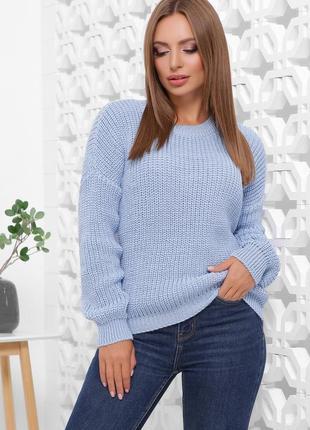 Стильный оверсайз свитер крупная вязка голубого цвета