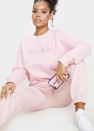 Розовый худи диамате с лого утеплённый свитшот
