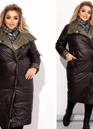 Женский двухсторонний пуховик большого размера куртка двухсторонняя