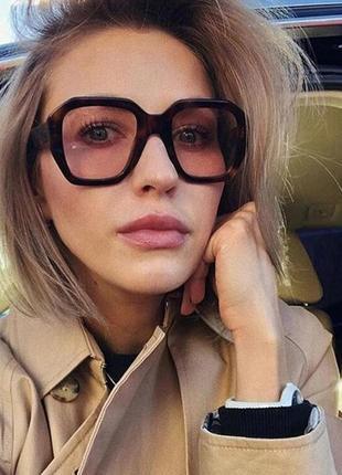 Качественные имиджевые очки ретро большие квадратные коричневые леопардовые окуляри великі