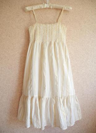 Белое платье-сарафан с золотой нитью h&m