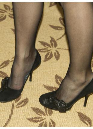 Туфли замшевые на каблуке tj collection