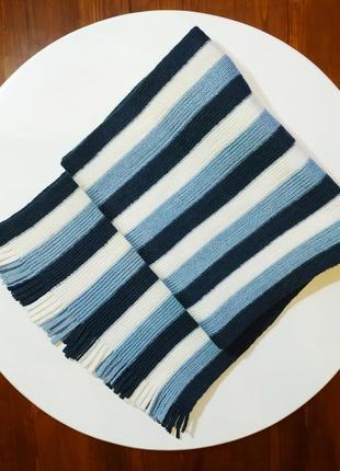 Синий голубой в полоску мужской трикотажный шарф