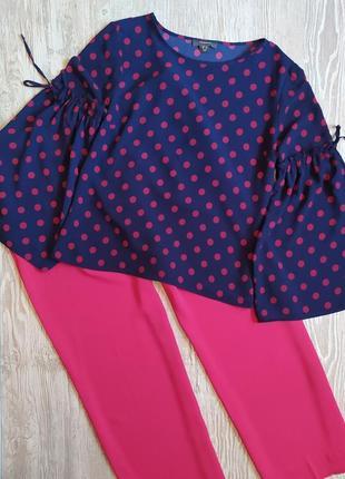 Блузка в горошек с расклешеным рукавом primark размер 14-16