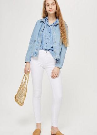 Белые высокие джинсы скинни topshop высокая талия
