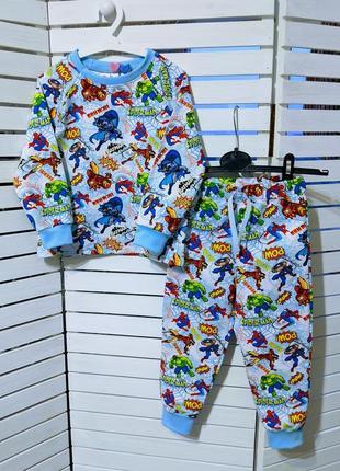 Классная яркая трикотажная пижамка супергерои