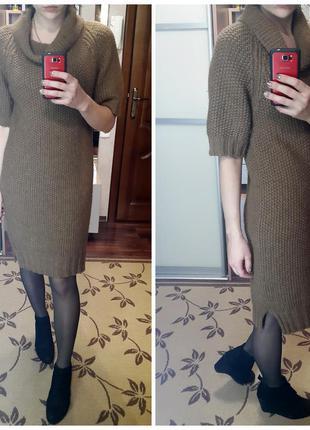 Теплое вязаное коричневое платье next
