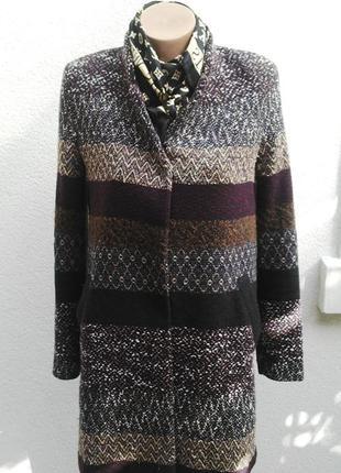 Пальто прямого кроя,жакет,пиджак на подкладке,хлопок+акрил+шерсть, zara