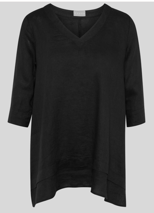 Рубашка лён блуза кофта джемпер льняная лонгслив туника натуральная длинная сзади