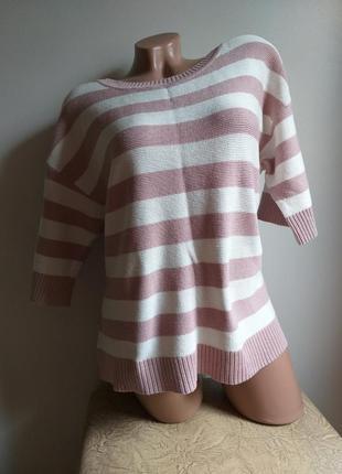 Пуловер. туника. свитер. лонгслив. пудровый, розовый, белый. в полоску.