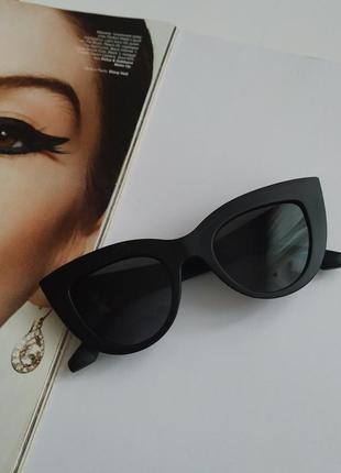 Очки женские солнцезащитные, матовая оправа кошачий глаз