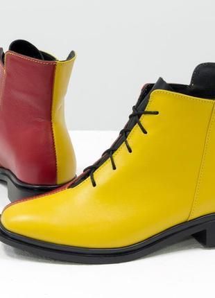 Эксклюзивные кожаные яркие ботинки ,осень-зима