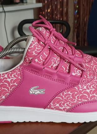 Розовые женские кроссовки lacoste. 39,5 размер. в идеальном состоянии