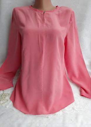 Блуза 👌🍬 однотонная с рукавом крепдешин персиковая шелковая