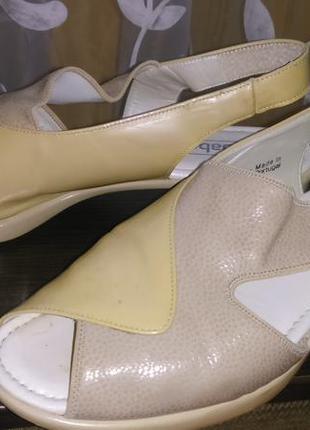 Кожаные босоножки gabor кожа мягкие удобные на широкую стопу высокий подъем