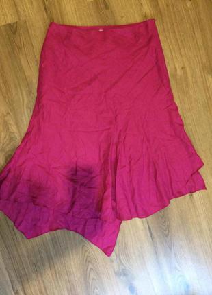 Эффектная льняная юбка, 100%лён!!