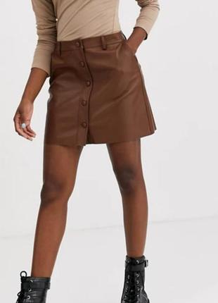 +🎁мини юбка с пуговицами кожа /замша 100%🔥